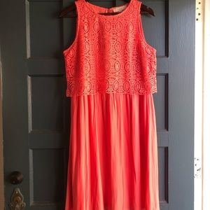 Loft Coral Dress with Lace size 8